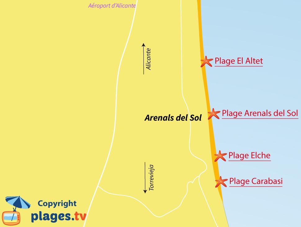 Plan des plages d'Arenals del Sol au sud d'Alicante - Espagne