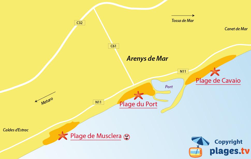 Plan des plages d'Arenys de Mar en Espagne