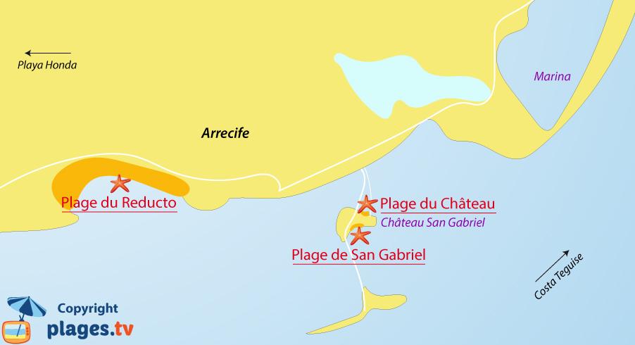 Plan des plages d'Arrecife à Lanzarote