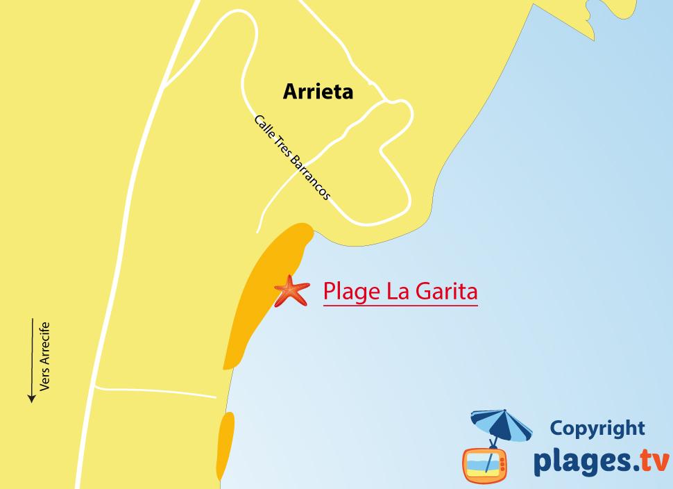 Plan des plages à Arrieta à Lanzarote