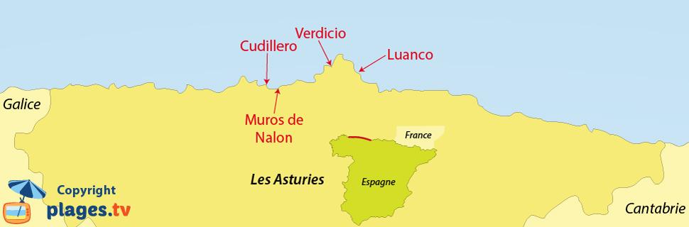 Plan des plages et des stations balnéaires des Asturies en Espagne
