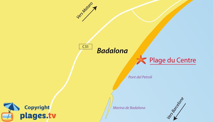 Plan des plages de Badalona en Espagne