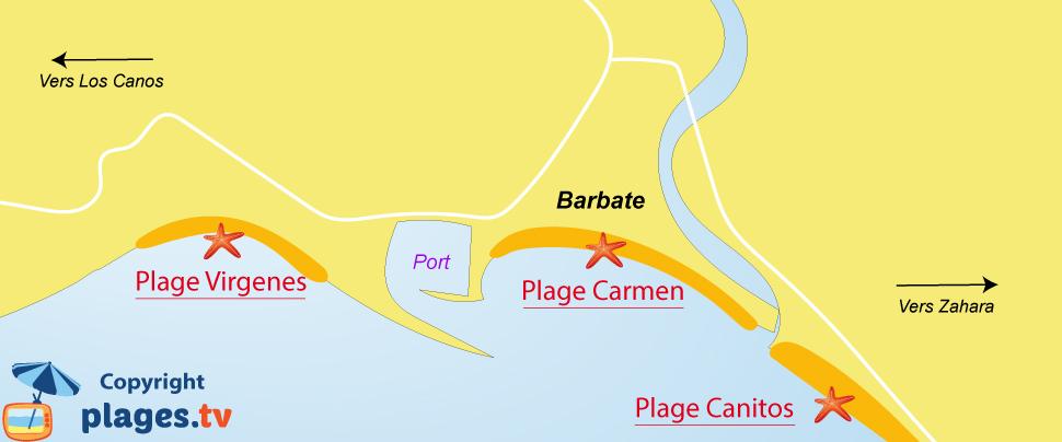 Plan des plages de Barbate en Andalousie - Espagne