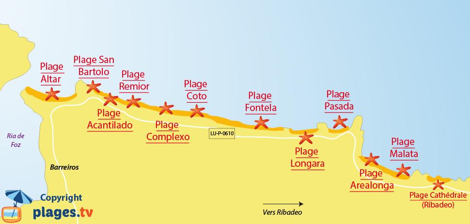 Carte des plages de Barreiros en Espagne