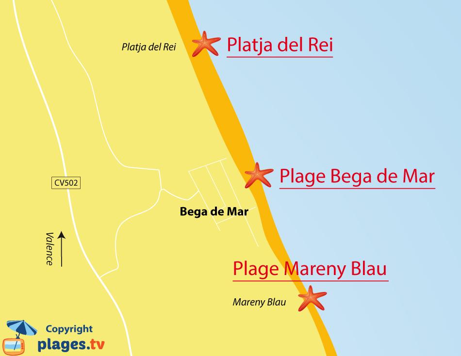 Plan des plages de Bega de Mar en Espagne - sud de Valencia