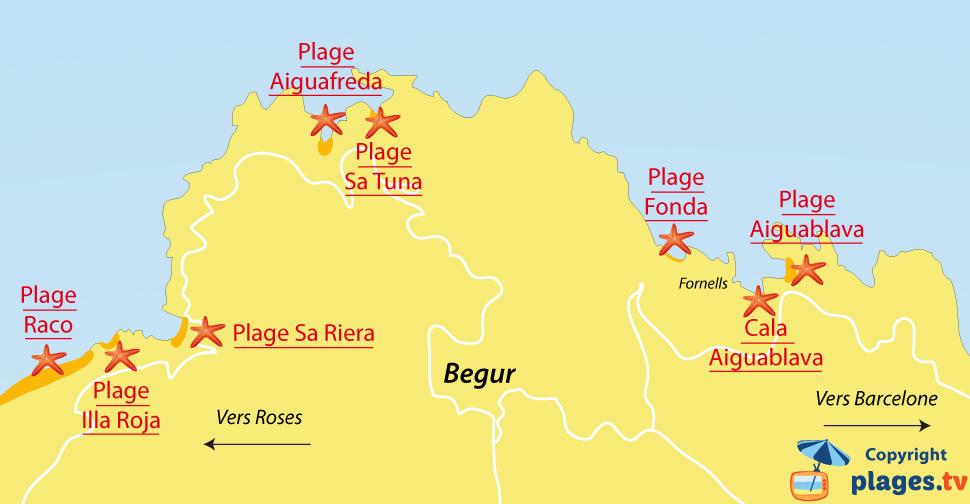 Plan des plages de Begur en Espagne
