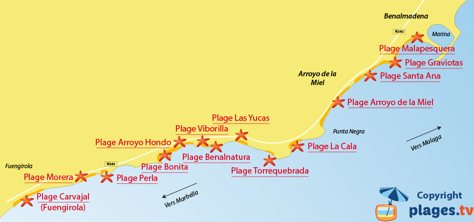 Plan de la plage de Benalmadena en Andalousie en Espagne