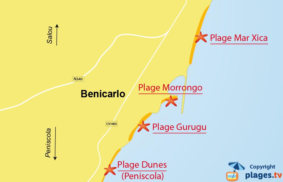 Plan des plages de Benicarlo en Espagne