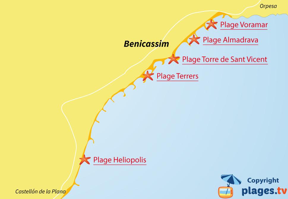 Plan des plages de Benicassim en Espagne