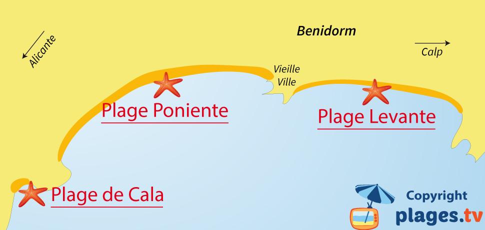 Plan des plages de Benidorm en Espagne