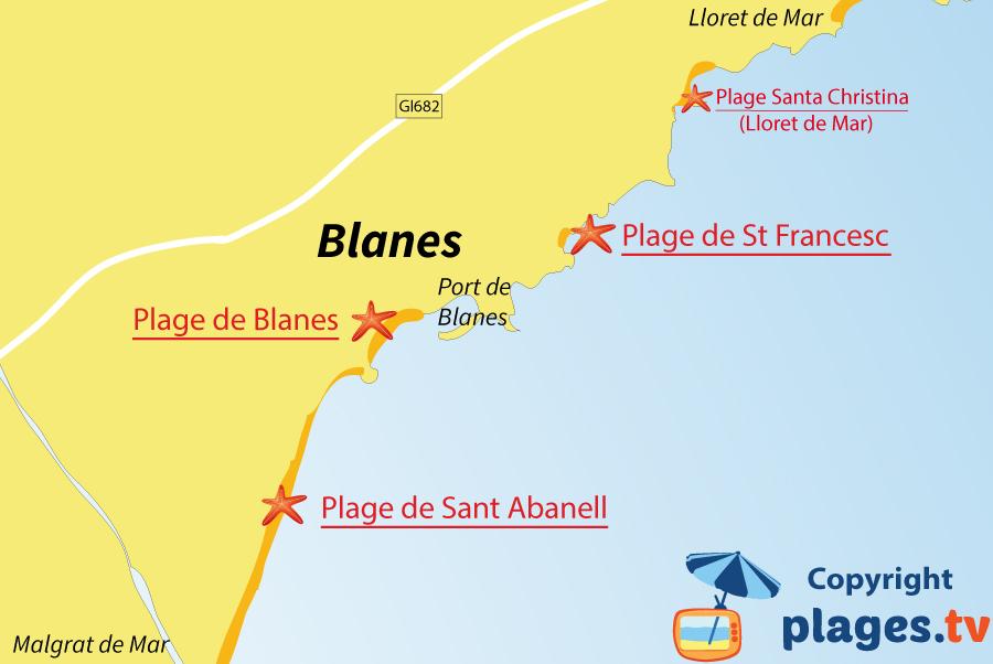 Plan des plages de Blanes en Espagne