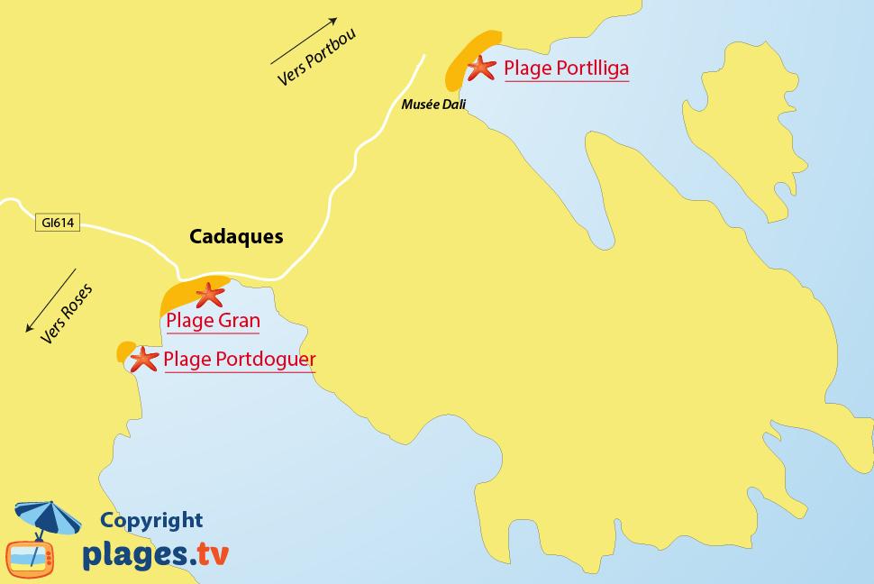 Plan des plages de Cadaques en Espagne
