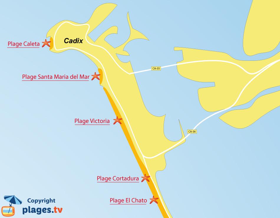 Plan des plages de Cadix en Andalousie en Espagne