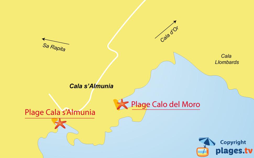 Plan des plages de Cala s'Almunia à Majorque