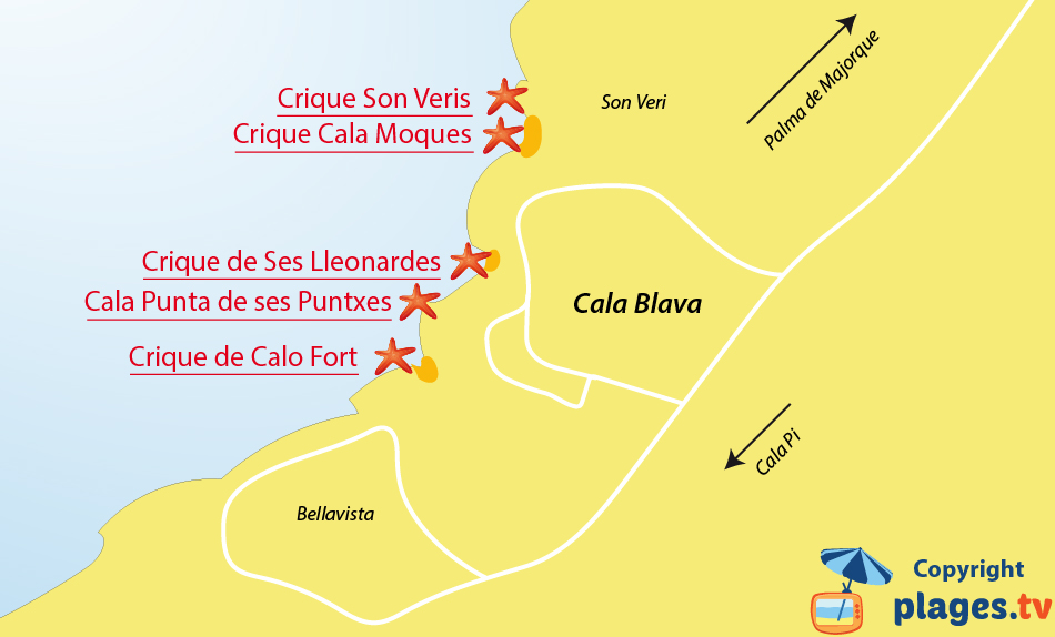 Plan des plages de Cala Blava à Majorque aux iles baléares