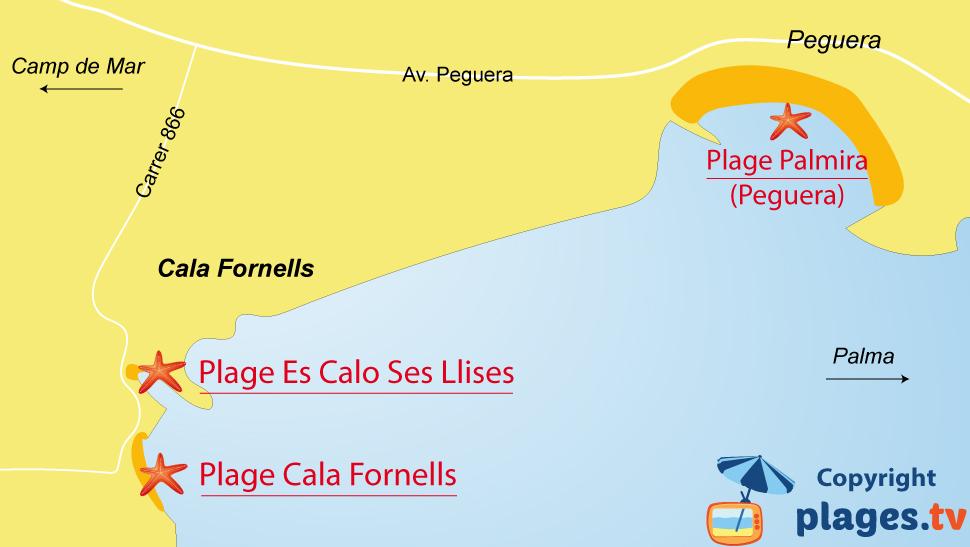 Plan des plages de Cala Fornells à Majorque