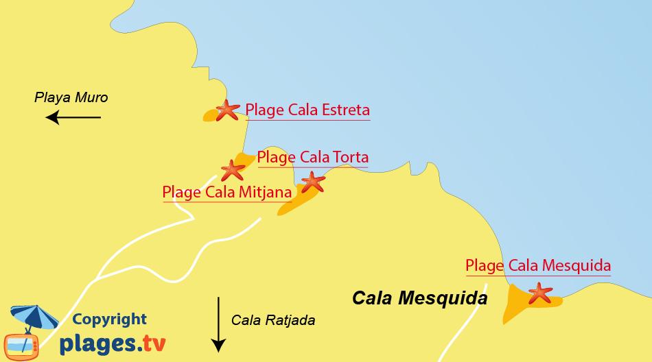 Plan des plages de Cala Mesquida à Majorque