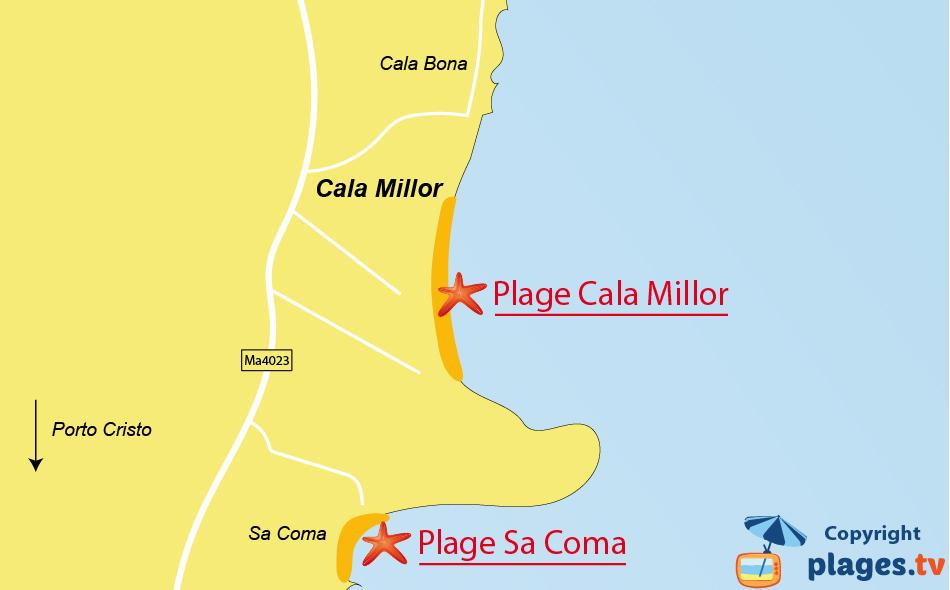Plan des plages de Cala Millor à Majorque - Baléares
