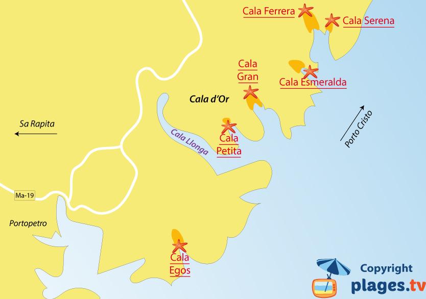 Plan des plages de Cala d'Or à Majorque - Iles Baléares