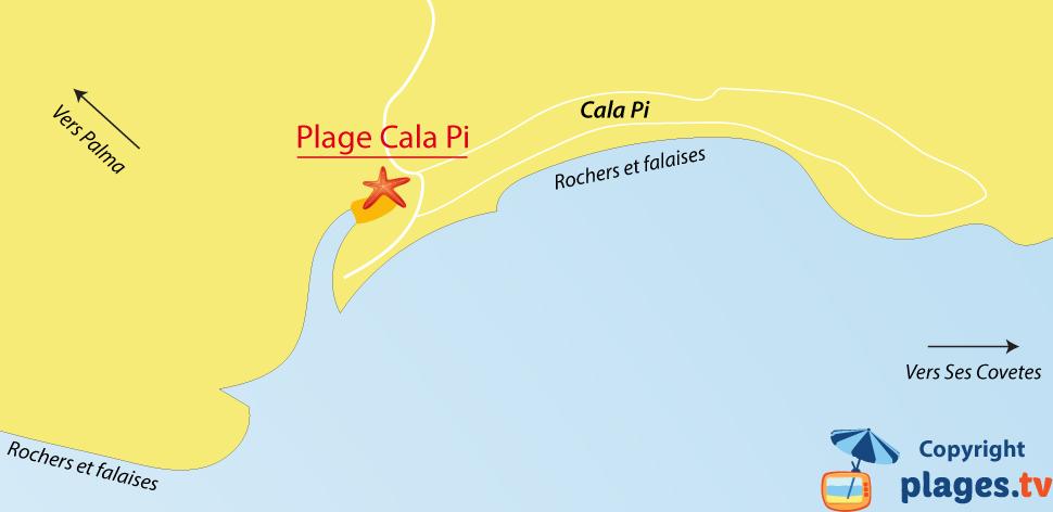 Plan des plages de Cala Pi en Espagne - Majorque