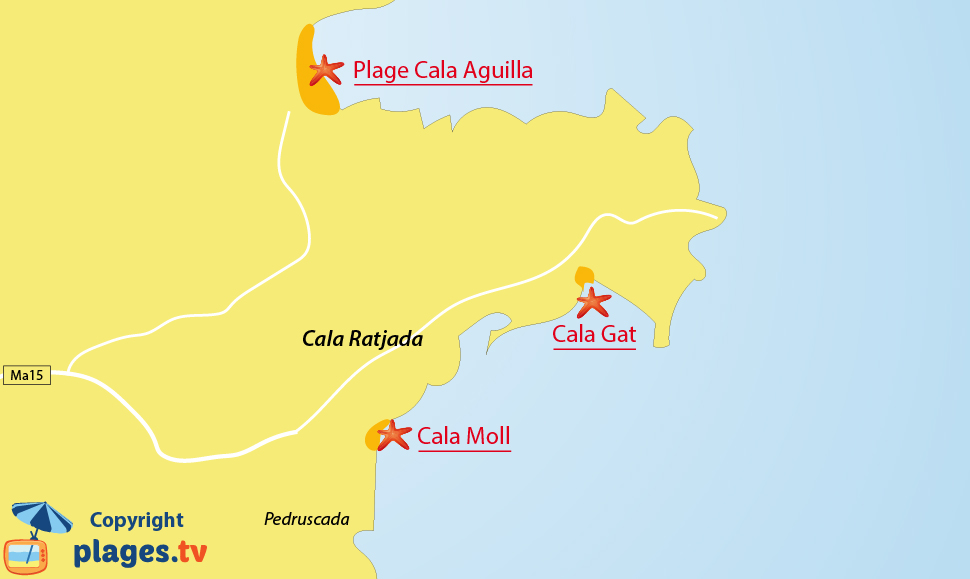 Plan de la plage de Cala Ratjada à Majorque - Baléares