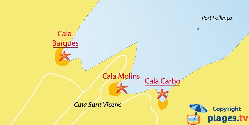 Plan des plages de Cala Sant Vicenc sur l'ile de Majorque