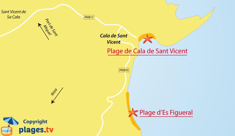 Plan des plages de Cala de Sant Vicent à Ibiza