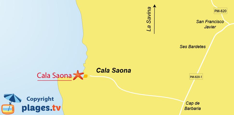 Plan des plages de Cala Saona à Formentera