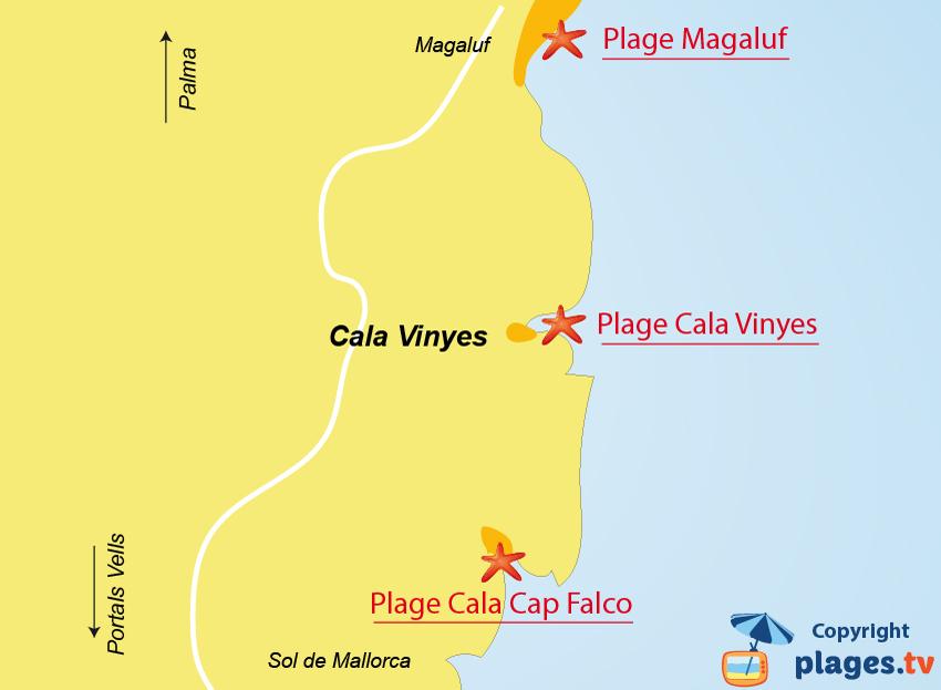 Plan des plages de Cala Vinyes à Majorque
