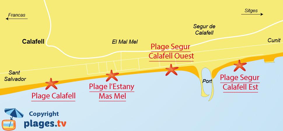 Plan des plages de Calafell en Espagne