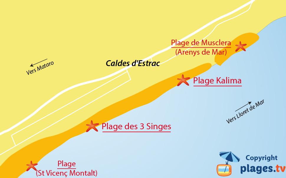 Plan des plages de Caldetas (Caldes d'Estrac) en Espagne