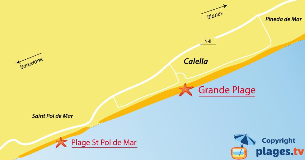 Plan des plages de Calella en Espagne