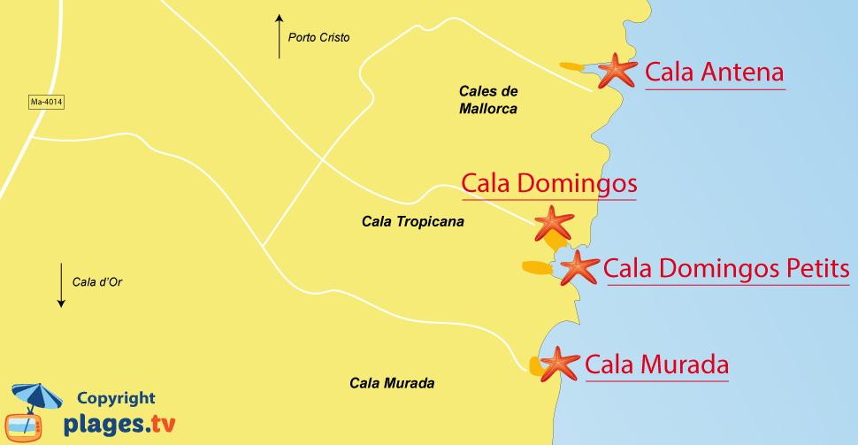 Plan des plages de Cala de Mallorca aux Baléares - Majorque