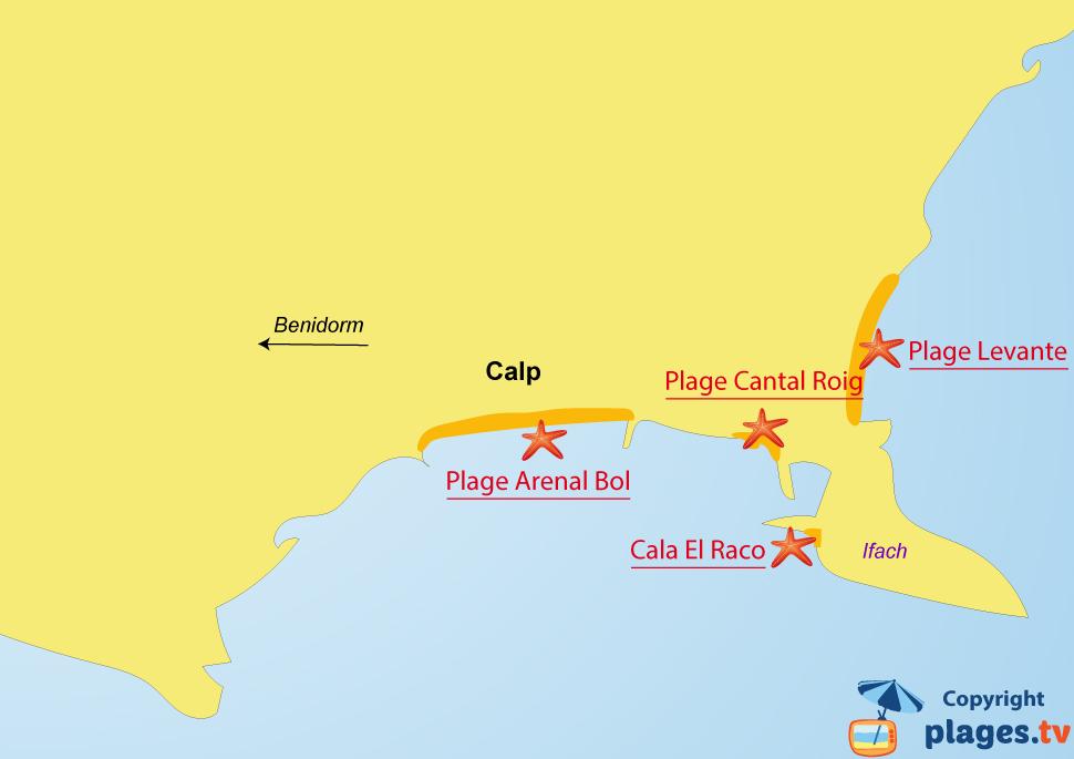 Plan des plages de Calp en Espagne