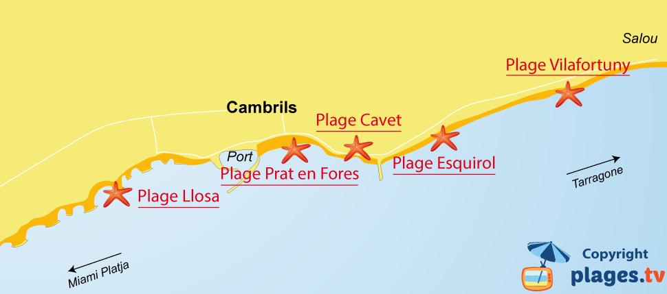 Plan des plages de Cambrils en Espagne