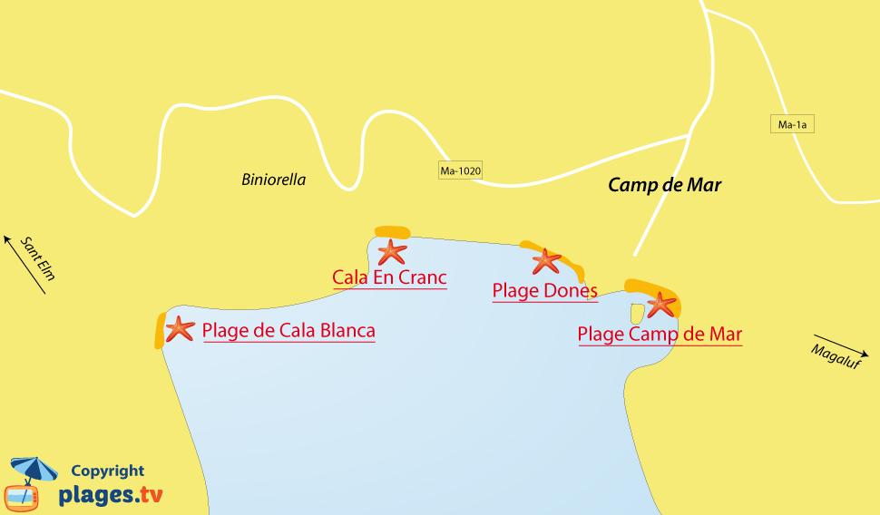 Plan des plages à Camp de Mar à Majorque aux Baléares