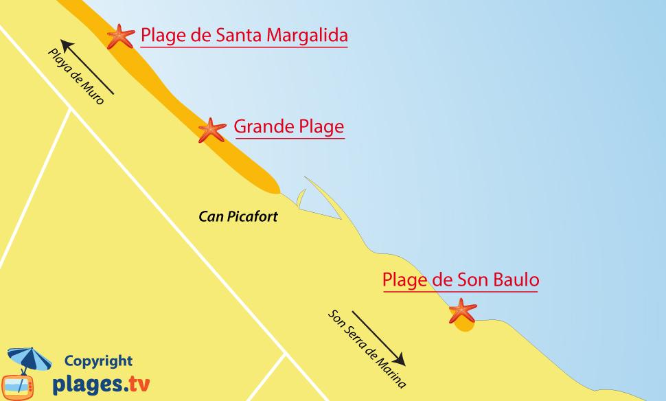 Plan des plages de Can Picafort à Majorque