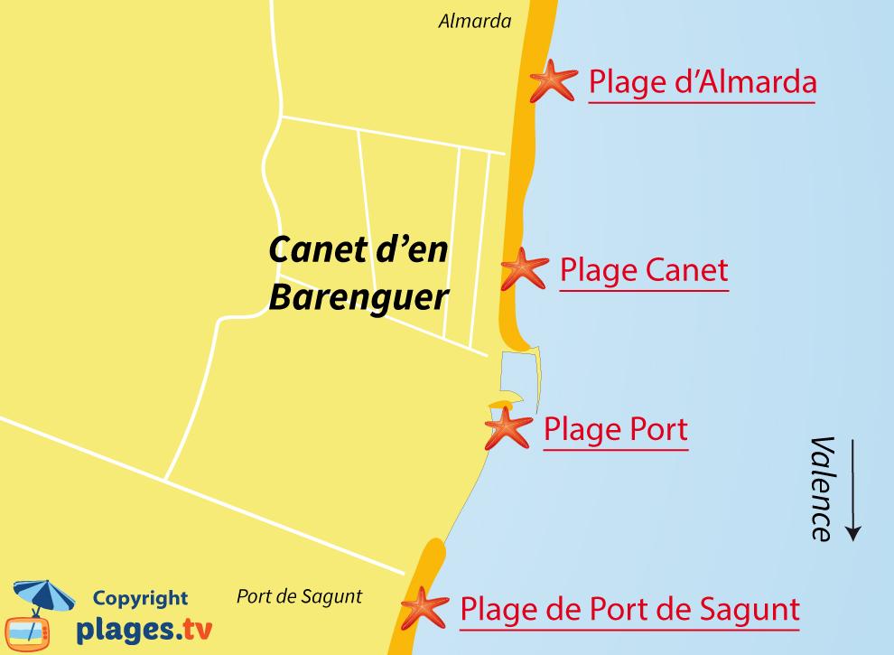 Plan des plages de Canet de Barenguer en Espagne