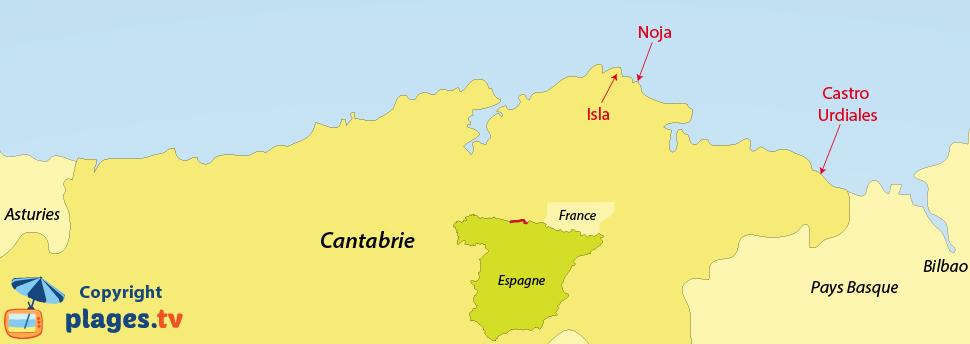 Plan des plages et des stations balnéaires de la Cantabrie en Espagne