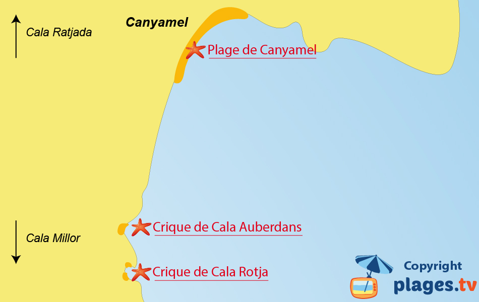 Plan des plages de Canyamel à Majorque - Espagne