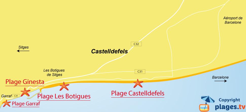Plan des plages de Castelldefels en Espagne