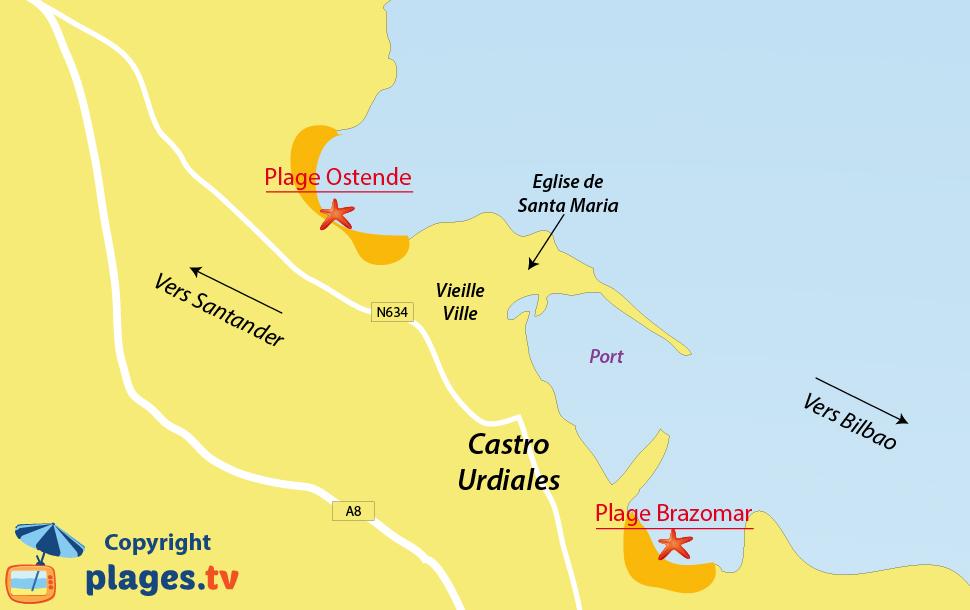 Plan des plages de Castro Urdiales en Espagne