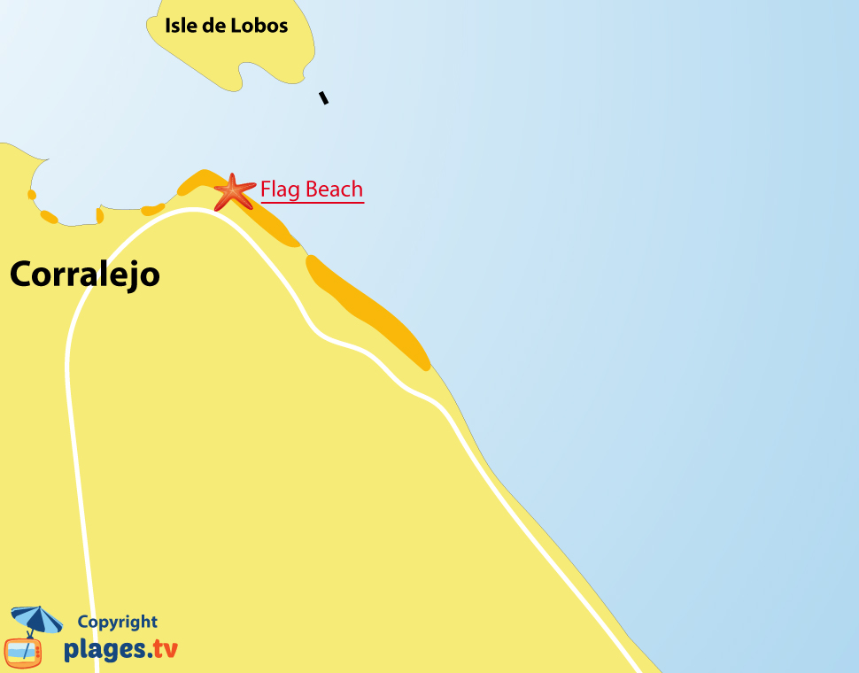 Plan des plages à Corralejo à fuerteventura en Espagne (Iles Canaries)