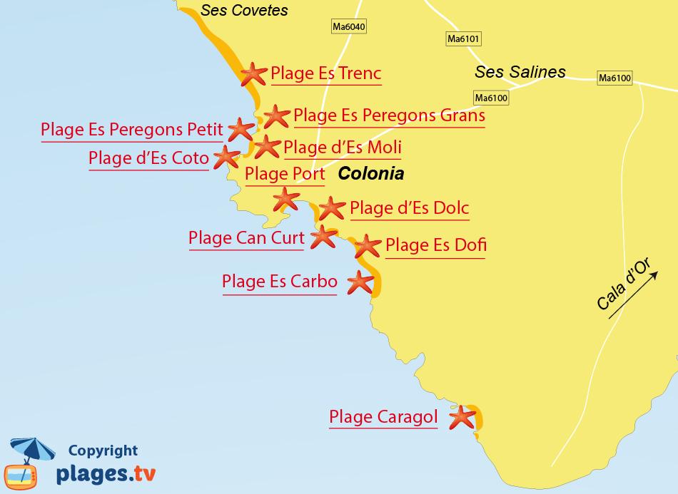 Plan des plages de Colonia de Sant Jordi à Majorque