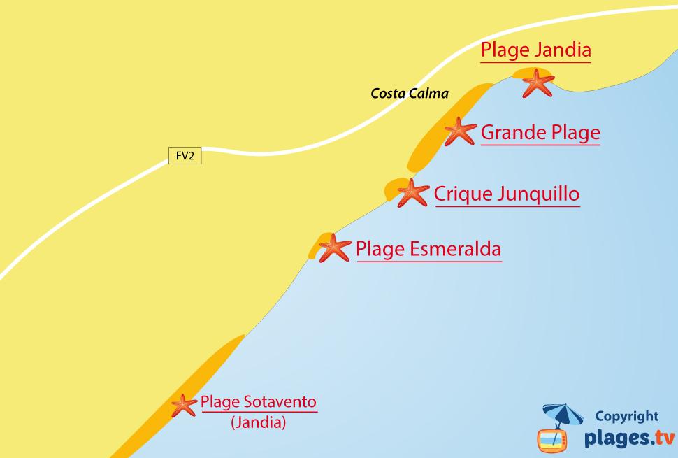 Plan des plages de Costa Calma à Fuerteventura - Iles Canaries