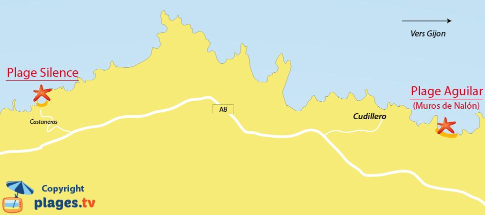 Plan des plages de Cudillero en Espagne