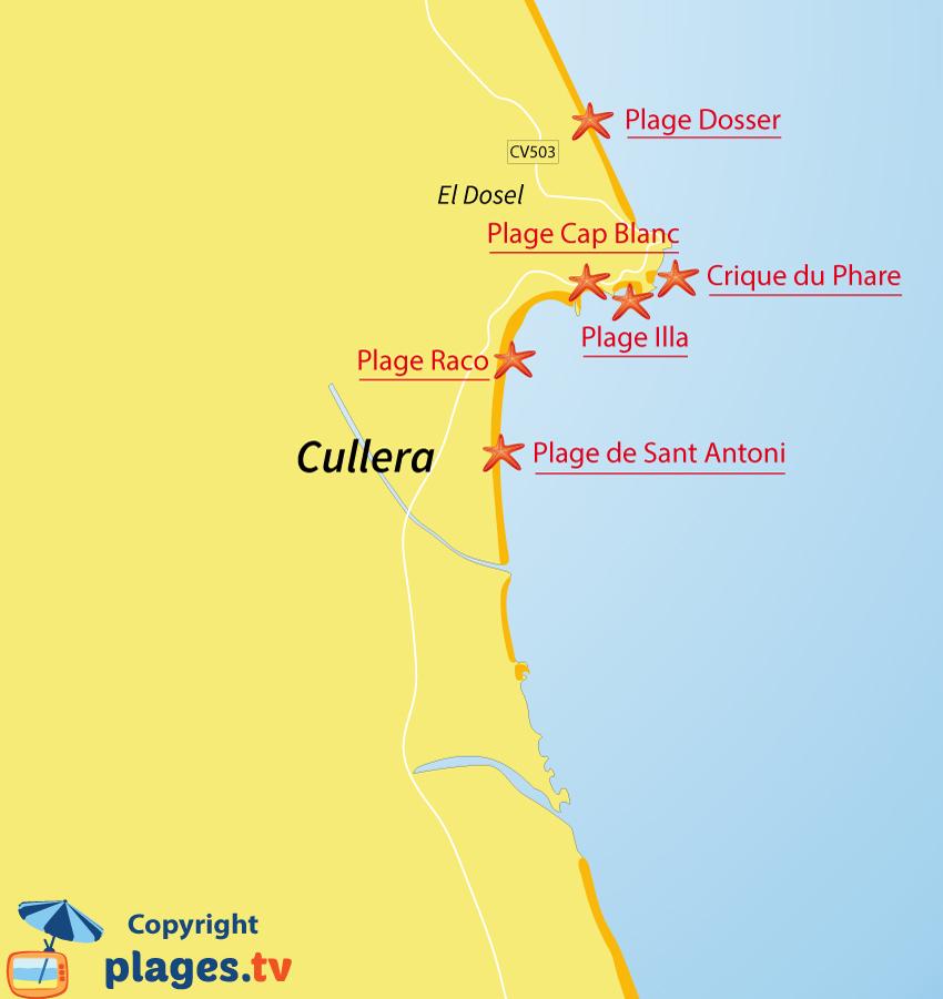 Plan des plages de Cullera en Espagne