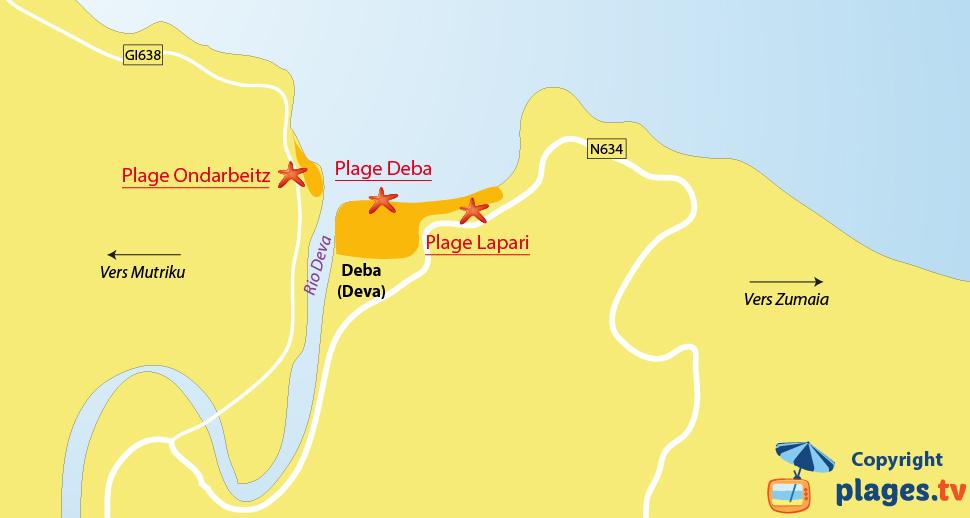 Plan des plages de Deba sur la Côte Basque espagnole