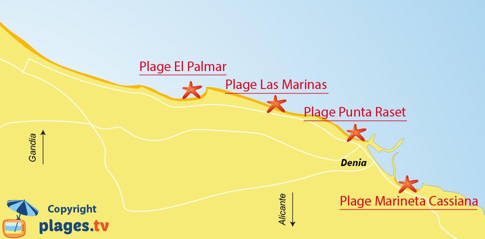 Plan des plages de Denia en Espagne