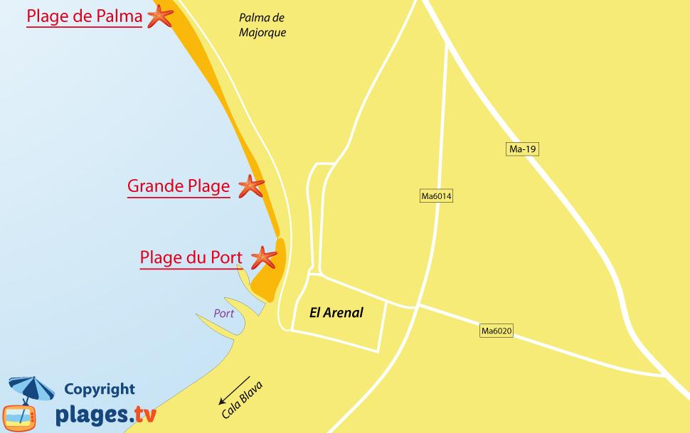 Plan des plages d'El Arenal sur l'ile de Majorque - Baléares